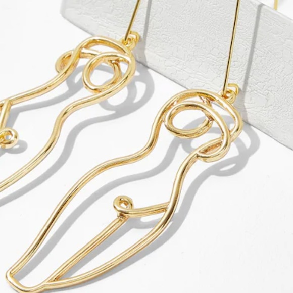 73e8e275761 RESTOCKED Wire Sculpted Nude Woman Gold Earrings